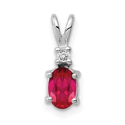 14k White Gold 6x4mm Oval Ruby (H/I1 Quality) Diamond Pendant