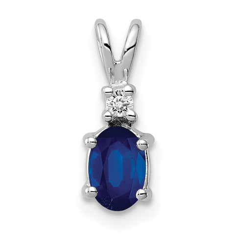 14k White Gold 6x4mm Oval Sapphire A Diamond pendant