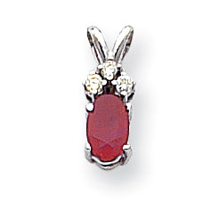 14k White Gold 6x4mm Oval Ruby AA Diamond pendant