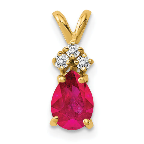 14k 7x5mm Pear Ruby AAA Diamond pendant