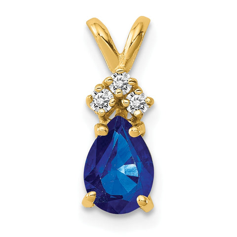 14k Yellow Gold 7x5mm Pear Sapphire (H/I1 Quality) Diamond Pendant