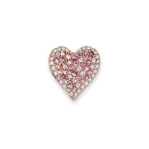 14k Rose Gold (H/I1 Quality) Diamond & Pink Sapphire Vintage Heart Pendant