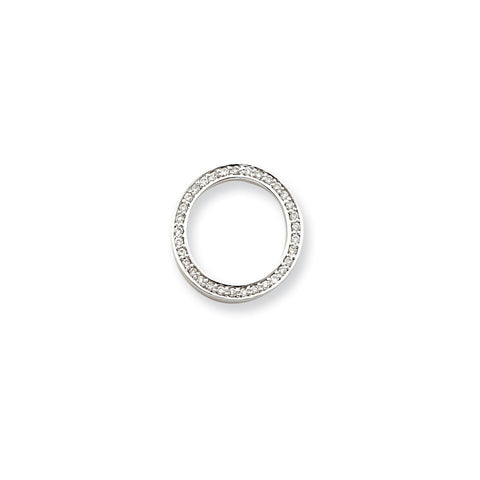 14k White Gold .53ct. Diamond Circle Pendant