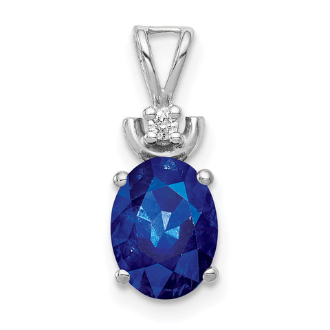 14k White Gold 8x6mm Oval Sapphire VS Diamond Pendant