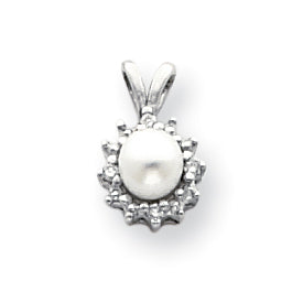 14k White Gold 4.5mm Round Freshwater Cultured Pearl AA Diamond Pendant