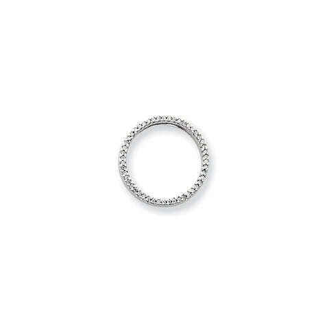 14k White Gold Diamond Circle Pendant