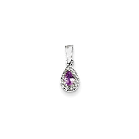 14k Yellow Gold Diamond and Pink Sapphire Pendant