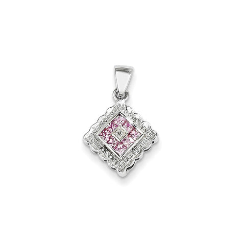 14k White Gold Diamond and Pink Sapphire Pendant