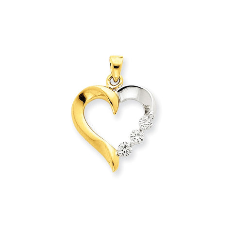 14k Two-Tone Gold Three Stone Diamond Heart Pendant
