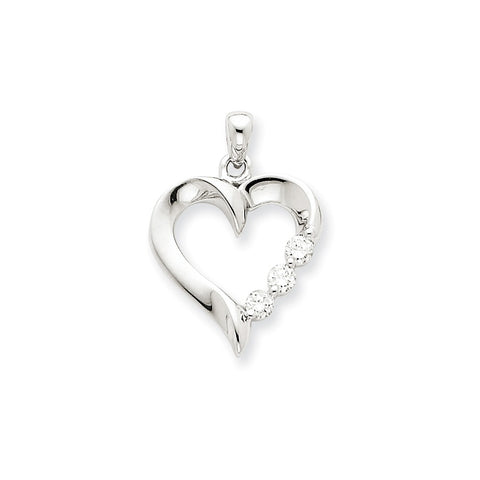 14k White Gold Three Stone Diamond Heart Pendant