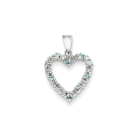 14k White Gold Diamond and Aquamarine Heart Pendant