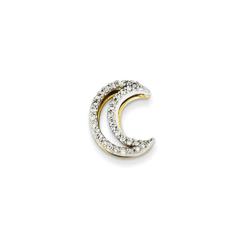 14k Two-Tone Gold Diamond Moon Slide