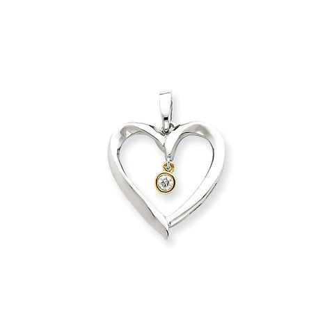 14k Two-Tone Gold Diamond Heart Pendant