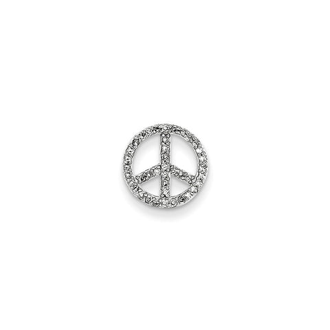 14k White Gold Diamond Peace Sign Slide
