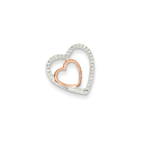 14k Two-Tone Gold White & Rose Gold Diamond Heart Pendant