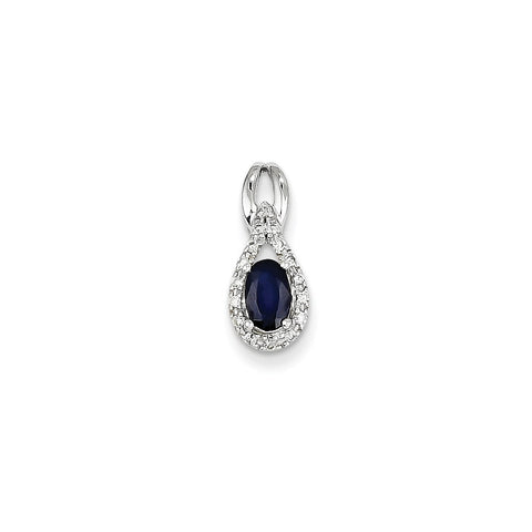 14k Yellow or White Gold Diamond & Sapphire Pendant