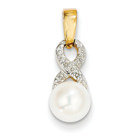 14k 7 8mm Freshwater Cultured Pearl and Diamond Pendant