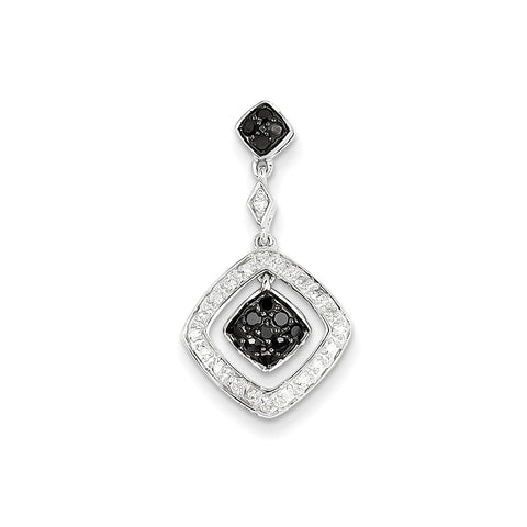 14k White Gold & Black Diamond Dangle Pendant