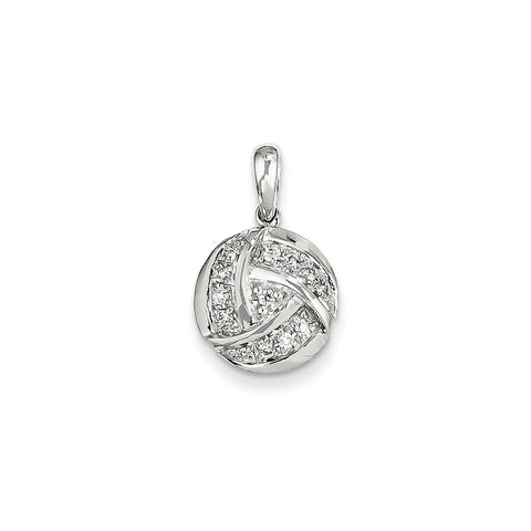 14k White Gold & Diamond Circle Pendant