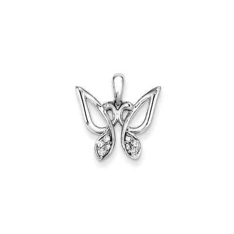 14K White Gold & Diamond Butterfly Pendant