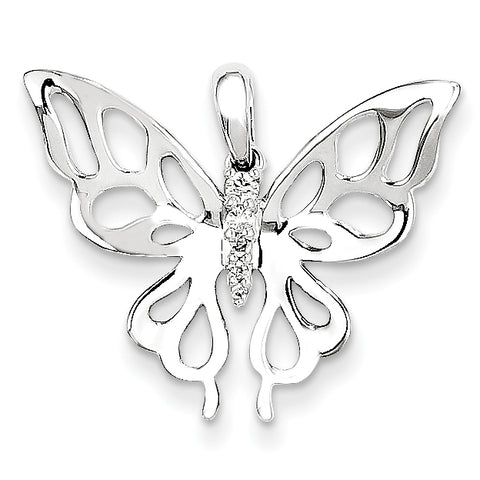 14K White Gold and Diamond Butterfly Pendant