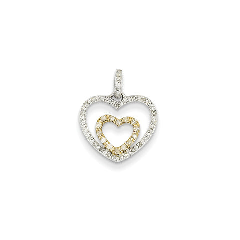14k Two-Tone Gold & White Gold Diamond Heart Pendant