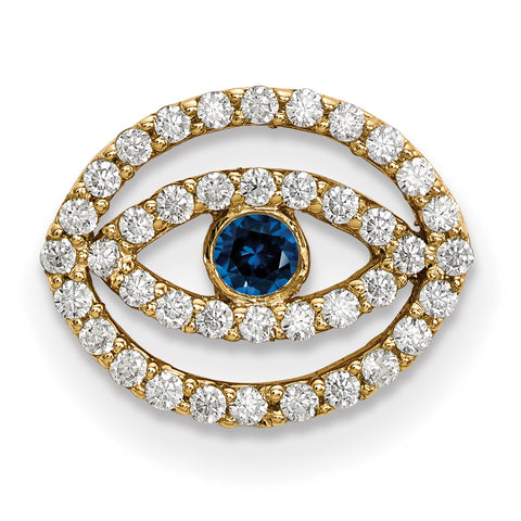 14ky Small Diamond and Sapphire Halo Evil Eye Pendant