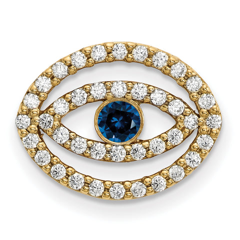 14ky Medium Diamond and Sapphire Halo Evil Eye Pendant
