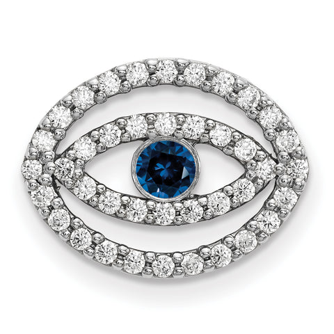 14k White Gold Medium Diamond and Sapphire Halo Evil Eye Pendant