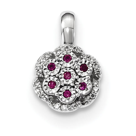 14k White Gold Diamond and Ruby Pendant