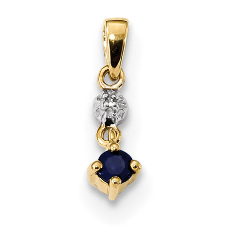 14K Gold with Diamond and Sapphire Polished Pendant