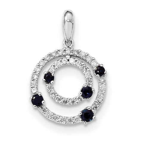 14k White Gold Diamond and Sapphire Round Polished Pendant