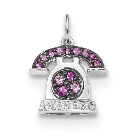 14k White Gold Diamond and Pink Sapphire Telephone Pendant