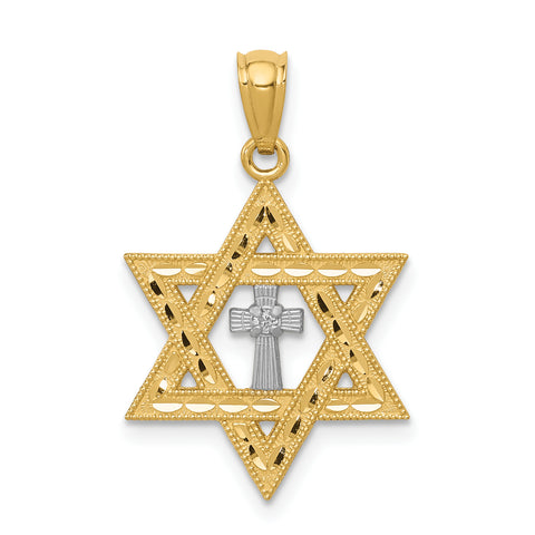 14K Gold Diamond with Rhodium Star of David with Cross Charm