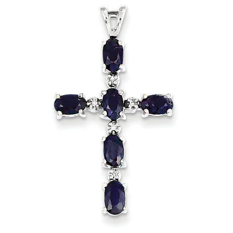 14k White Gold Diamond and Sapphire Cross Pendant