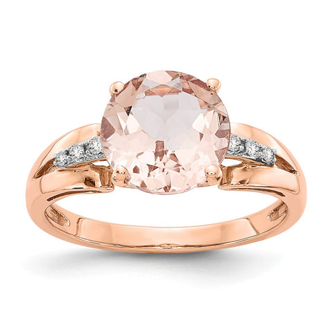 14k Rose Gold Diamond and Morganite Round Ring