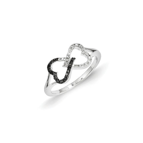 14k White Gold Black and White Diamond Infinity Heart Ring