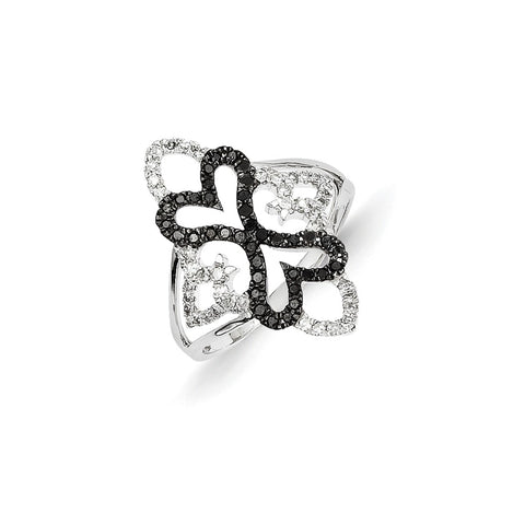 14k White Gold Black and White Diamond Fancy Heart Ring