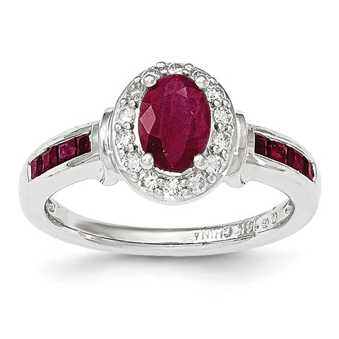 14KW Diamond and Ruby with Halo Ring