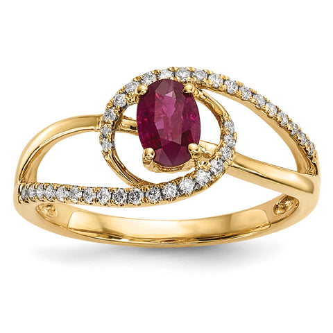 14k Gold with Ruby and Diamond Ring
