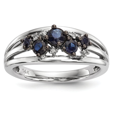 14k White Gold Diamond and Sapphire Polished Ring