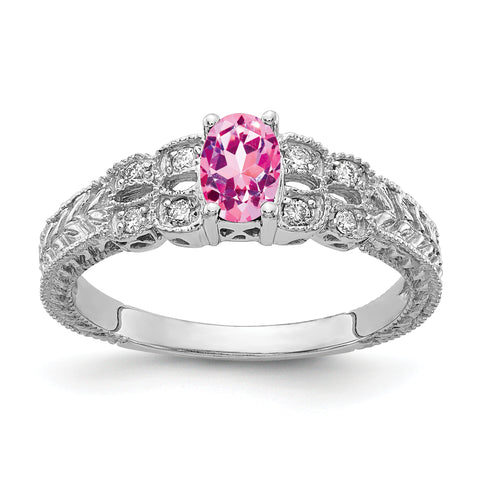14k White Gold 6x4mm Oval Pink Sapphire A Diamond ring