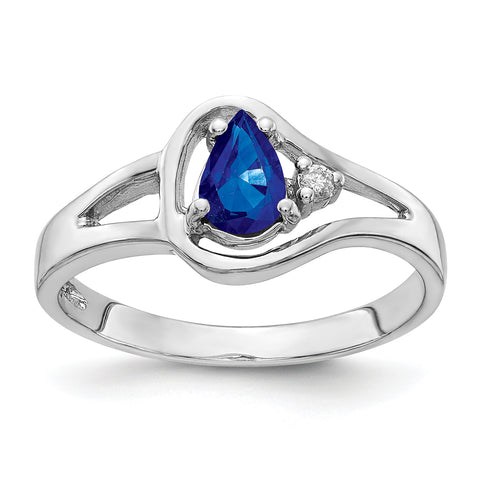 14k White Gold 6x4mm Pear Sapphire AAA Diamond ring