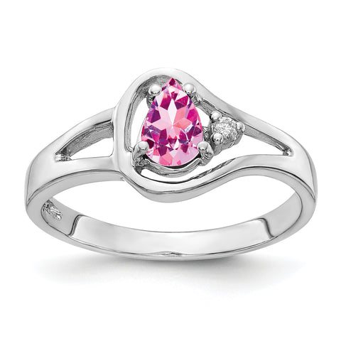 14k White Gold 6x4mm Pear Pink Sapphire VS Diamond ring