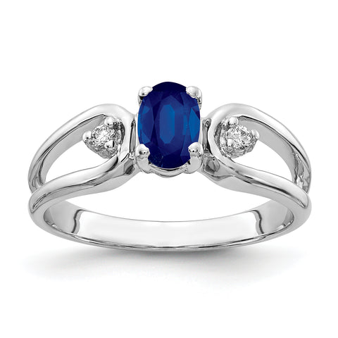 14k White Gold 6x4mm Oval Sapphire AA Diamond ring
