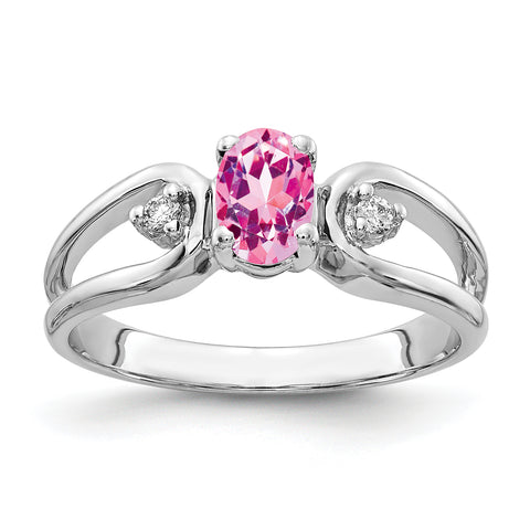 14k White Gold 6x4mm Oval Pink Sapphire AAA Diamond ring