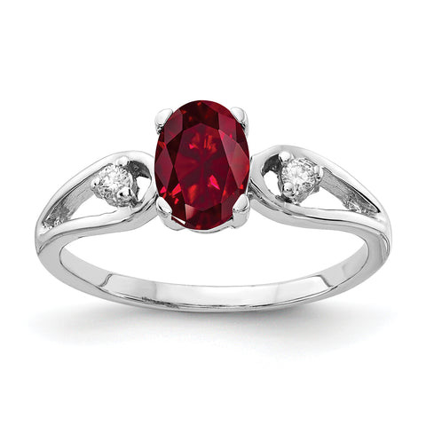 14k White Gold 7x5mm Oval Created Ruby AAA Diamond ring
