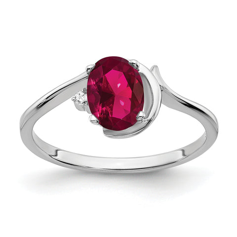 14k White Gold 7x5mm Oval Created Ruby VS Diamond ring