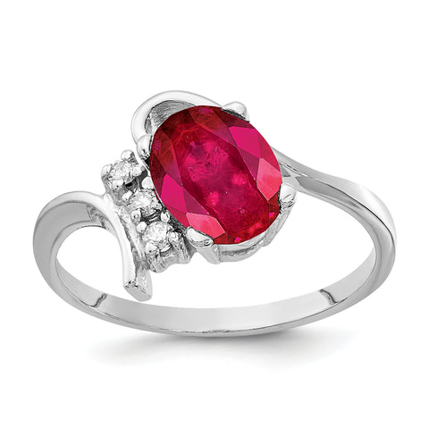 14k White Gold 8x6mm Oval Ruby AAA Diamond ring