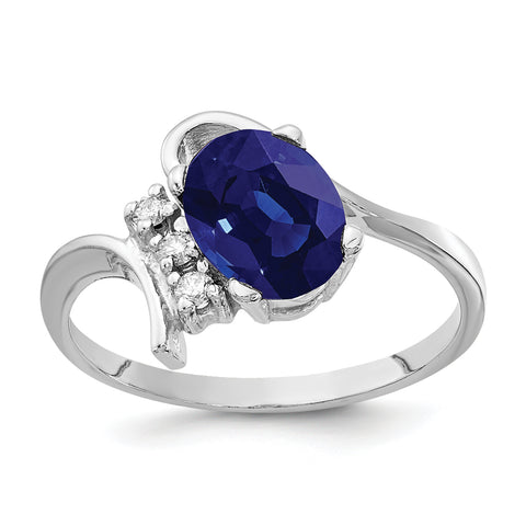 14k White Gold 8x6mm Oval Sapphire AA Diamond ring
